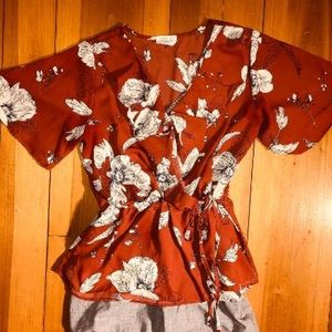 Floral Rust Colored Blouse, Front Ruffle, Tie